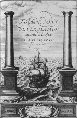 Frontispiece Francis Bacon's Instauratio Magna (1620).